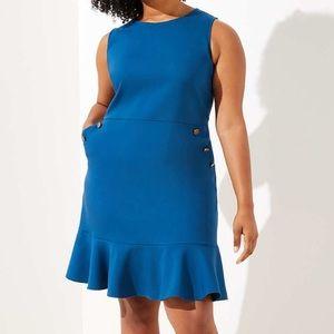 Jazz Blue Button Pocket Flounce Dress